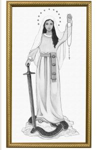 Queen of the Rosary 10 x 18 Canvas, Gold Frame, Black & White