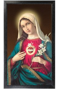 Immaculate Heart of Mary 10 x 18 Canvas, Black Framed