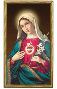 Immaculate Heart of Mary 10 x 18, Gold Framed