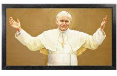 St John Paul II 18 x 10 Canvas Print, Black Frame