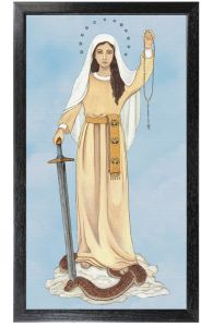 Queen of the Rosary 10 x 18 Canvas, Black Frame