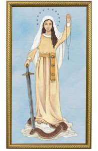 Queen of the Rosary 10 x 18 Canvas, Gold Frame
