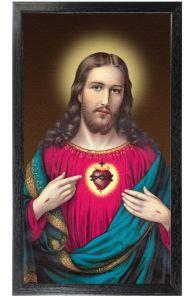 Sacred Heart of Jesus 10 x 18 Canvas, Black Framed