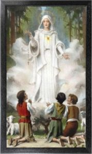 Our Lady of Fatima 10 x 18 Canvas, Black Framed