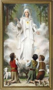 Our Lady of Fatima 10 x 18 Canvas, Gold Framed