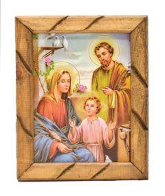 Cuadro rustico con la imagen de la Sagrada Familia