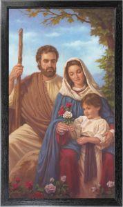 10 x 18 Black Framed Holy Family Canvas Print