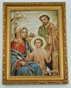 Embroidered Holy Family Image with Gold Frame