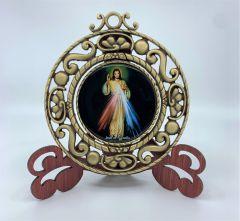 Medallon rotativo con la imagen de la Divina Misericordia y Santa Faustina