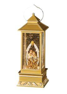 LED Gold Swirl Holy Family Lantern